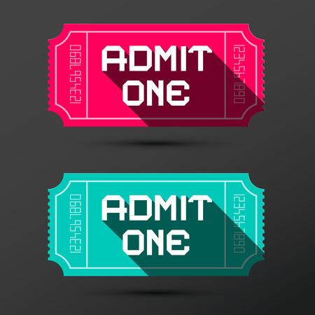 admit: Admit One Ticket. Vector Retro Pink and Blue Tickets Set. Illustration