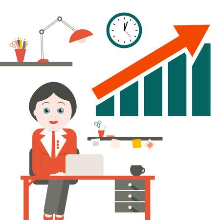 Frau im Büro. Vektor-Sekretär mit Tabellen- und Erfolgspfeil-Diagramm. Standard-Bild - 67913962