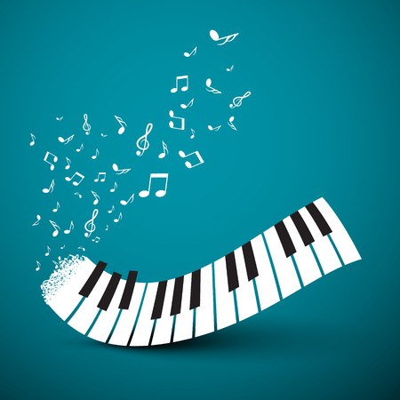 keyboard music: Flying Notes with Abstract Piano Keyboard. Music Vector Background.