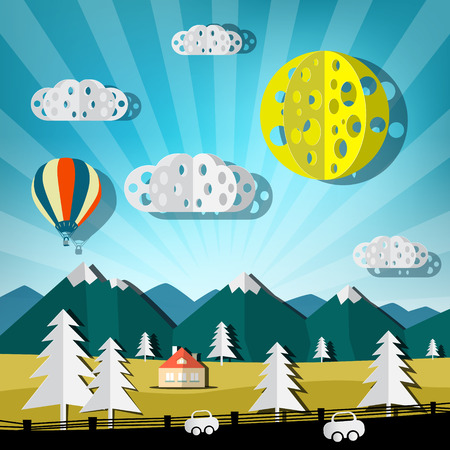 balloon background: Paper Cut Landscape. Vector Nature Scene with Road, Cars, Hills and Hot Air Balloon. Illustration