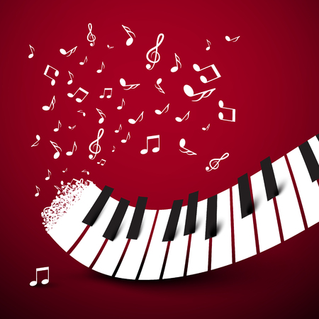 Piano toetsen. Toetsenbord met notities. Muziek symbool. Vector illustratie op donkere rode achtergrond.