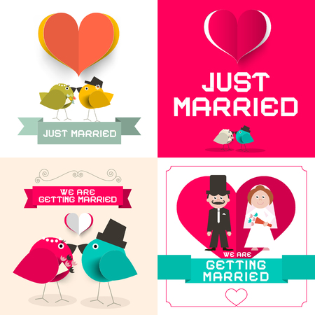 getting married: Just Married. Vector Wedding Cards Set. Paper Retro Flat Design Layout. Illustration