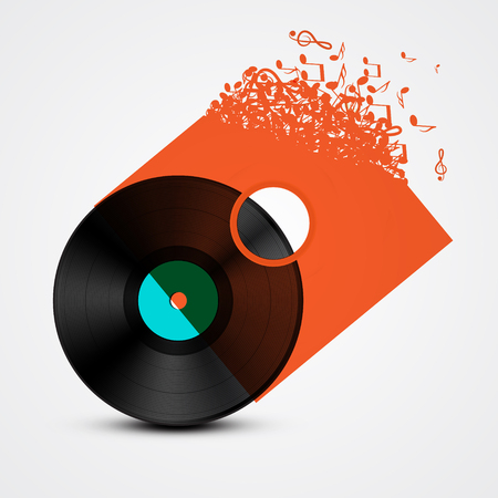 lp: Vinyl Record LP with Transparent Cover Made from Music Notes. Abstract Vector Illustration.