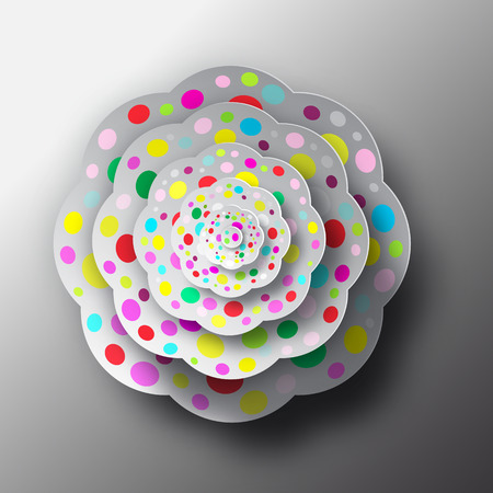 view abstract: Paper Cut Flower. Top View Abstract Vector Shape. Illustration