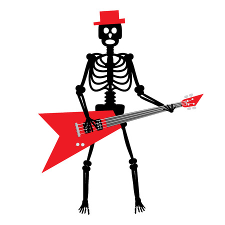 rock guitarist: Human Skeleton with Guitar. Crazy Punk  Rock Guitarist with Red Hat Vector Cartoon.