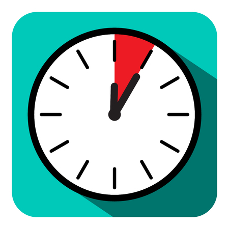 Clock Icon. Vector Retro Flat Design Five Minutes Symbol.