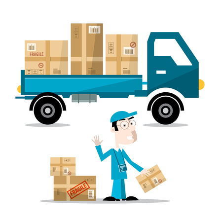 Delivery Man with Boxes on Car. Vector Flat Design Illustration Isolated on White Background. Иллюстрация