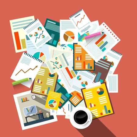 Flat Design Top View Paperwork Vector Illustration. Business Concept. Tax Forms, Success Graphs with Coffee. Illustration
