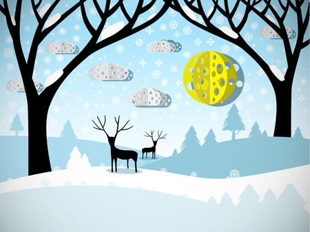 Winter Landscape. Field Covered with Snow, Trees and Deer. Illustration