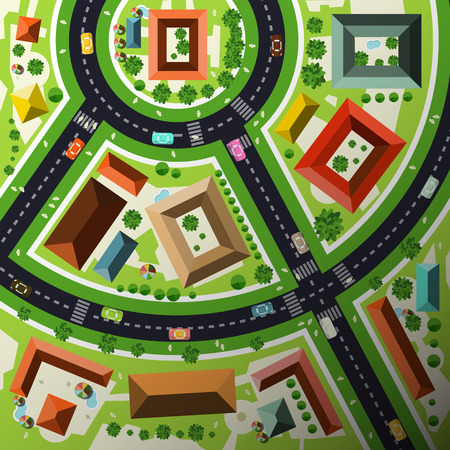 crossing street: Aerial Top View Flat Design Vector Abstract Green City Map with Streets, Houses, Cars and People