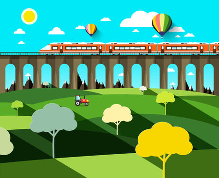 Flat Design Landscape with Modern Train on High Bridge and Hot Air Balloons on Blue Sky