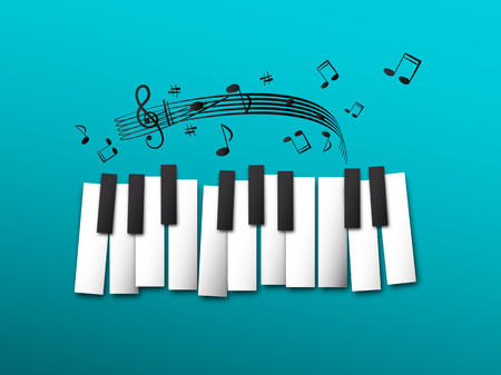 Piano Keys, Music Notes on Blue Background