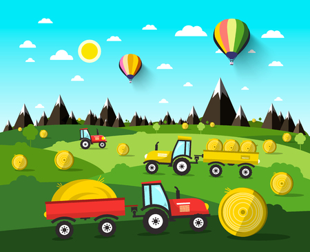 hay field: Harvesting Vector Landscape with Hay Balls and Tractors. Nature Scene with Hot Air Balloons and Green Field.