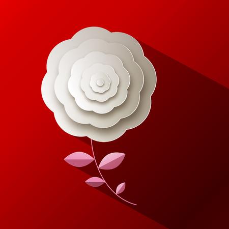 red rose: Paper Rose Flower on Red Background Illustration