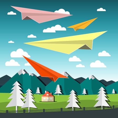 Paper Plains. Vector Landscape with Airplanes.