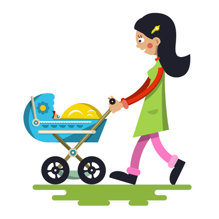 Young Mother with Baby on Pram. Vector Lady Cartoon Isolated on White Background. Illustration