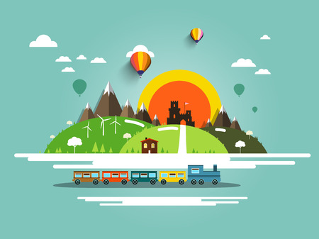 wind mills: Flat Design Landscape with Steam Train, Old Castle and Hot Air Balloons Illustration