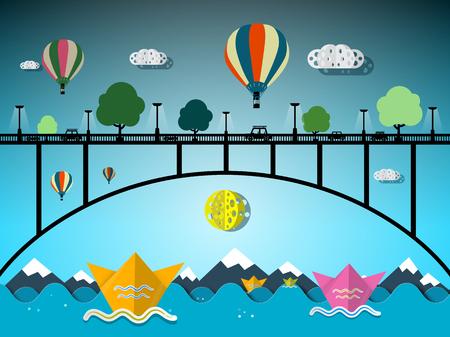 bridge over water: Vector Flat Design Landscape. Bridge Over Water. Illustration