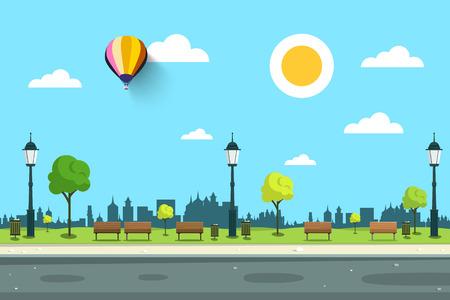 空公園ランプ、木と道路  イラスト・ベクター素材