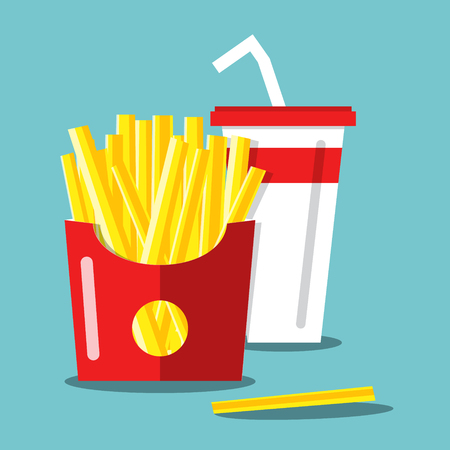 French Fries with Soda. Vector Flat Design Food and Drink Cartoon. Illustration