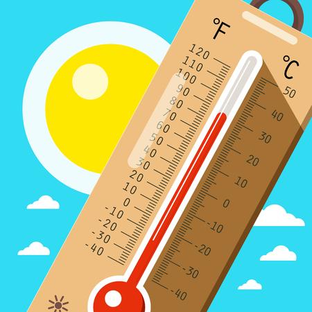 하늘과 태양 온도계입니다. 여름의 더운 날씨. 벡터 만화입니다.