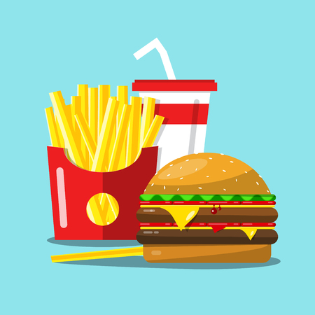 Fast Food Vector Cartoon. French Fries, Hamburger and Soda Flat Design Illustration. Illustration