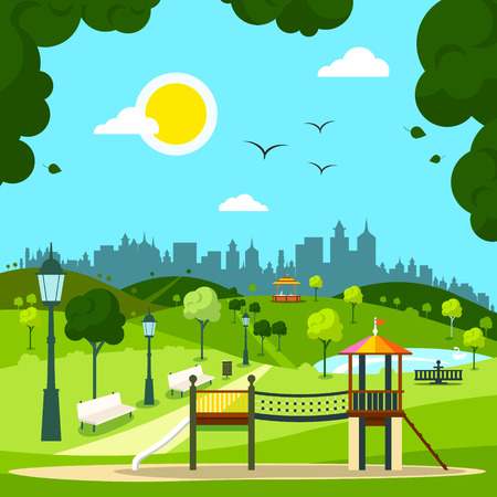 City Garden with Childrens Playground and City Silhouette on Background. Sunny Day in Park. Illustration