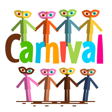 Carnival Flat Design Vector. Paper Cut People on Party. Illustration