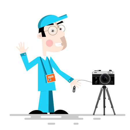 A Photographer with Camera on Tripod Vector Cartoon