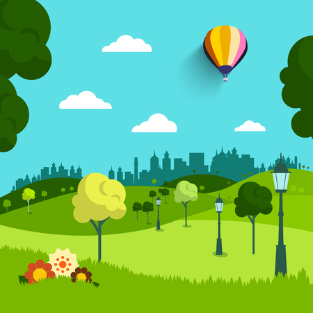 Empty Park Vector Flat Design Landscape. Natural Scene with Trees, Flowers and Hot Air Balloon. Illustration
