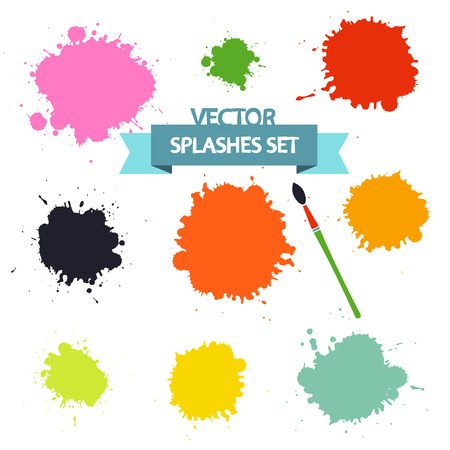 Splashes Set Isolated on White Background. Vector Flat Blots.