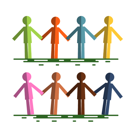 Colorful Paper Cut People Holding Hands Isolated on White Background