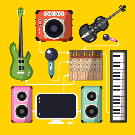 Musical Instruments and Devices on Yellow Background. Vector Flat Design Home Recording Studio. Illustration