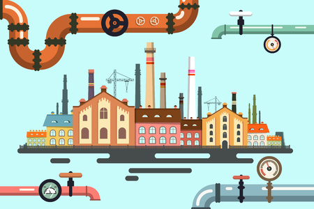 Old Factory with Pipeline. Vector Flat Design Illustration. Illustration