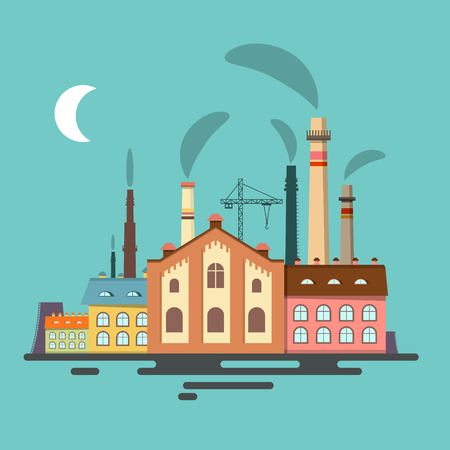 Old Factory. Retro Flat Design Vector.