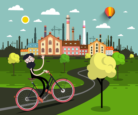 Man on Bicycle with Industrial City on background