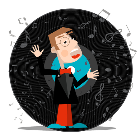 Singer with Vinyl Record Vector Music Symbol with Notes. Ilustrace