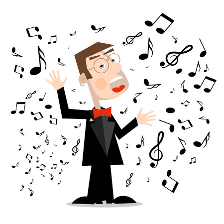 Man in Suit with Notes. Vector Singer Cartoon Isolated on White Background.