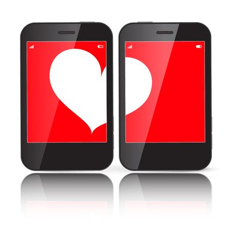 Heart on Two Cell Phones Displays