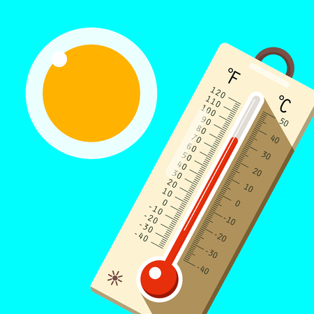 Thermometer with Blue Sky and Sun. Hot Summer Day Symbol. Vector. Illustration