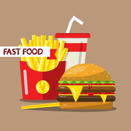 Fast Food Vector Flat Design Meal Illustration