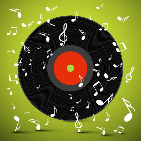 Vinyl Record with Notes Vector.