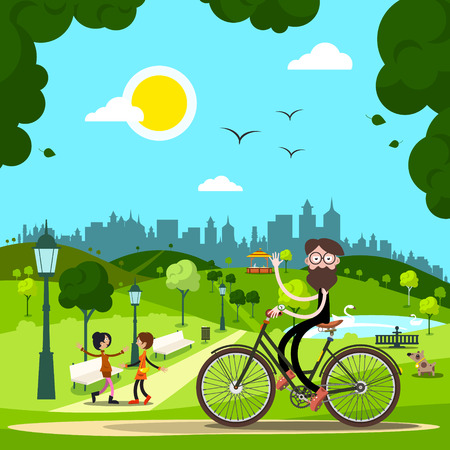 Man on Bicycle in City Park with People and Dog on Background. Vector. Illustration