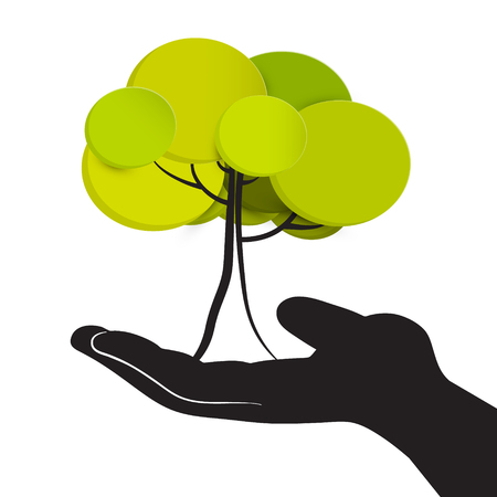 earth day: Tree in Human Hand