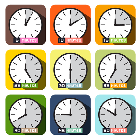 Clock Icons Vector. Different Time Clock Face Set. Illustration