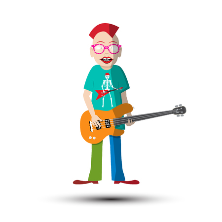 Funky Guitar Player. Musician Isolated on White Background, vector illustration