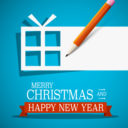Merry Christmas and Happy New Year. Xmas Card. Paper Vector Gift Box with Empty Space for Text and Pencil on Blue Background.