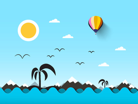 Ocean Landscape. Sea with Waves and Blue Sky. Vector, Abstract Flat Scene with Mountains, Palm Tree on Island and Sun.