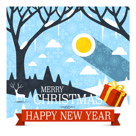 Merry Christmas and Happy New Year Card with Red Gift box and Snowflakes Tree on Abstract Landscape Covered with Snow. Vector. Illustration
