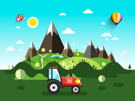 Field with Tractor. Flat Design Vector Landscape.